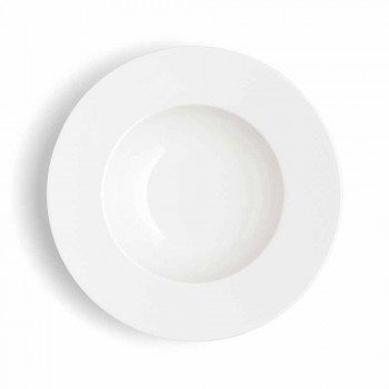 Service 24 Modern White Dinner Plates and 12 Porcelain Cups - Monaco