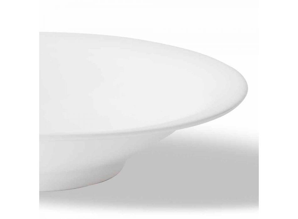 24 Elegant Dinner Plates in White Porcelain Design - Doriana