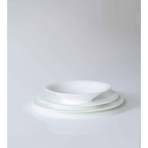 24 Elegant Dinner Plates in White Porcelain Design - Doriana