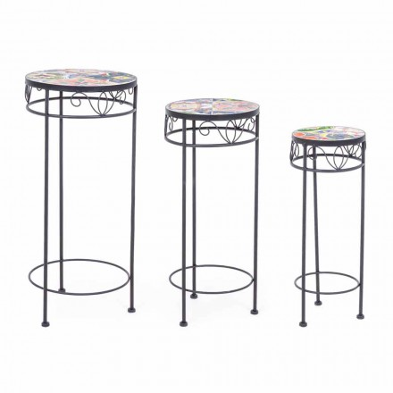 3 Round Steel Outdoor Tables with Design Decors - Enchanting