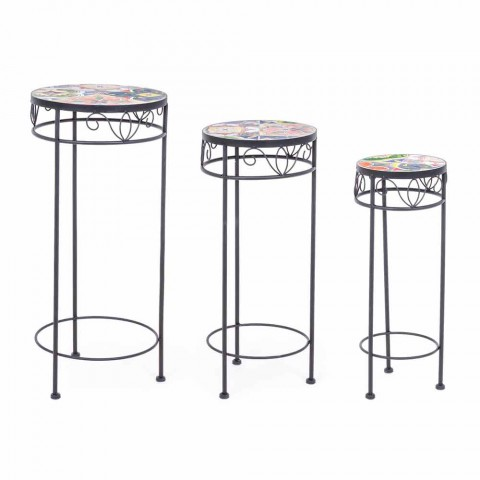 Service 3 Round Garden Tables in Steel and Decors - Enchanting