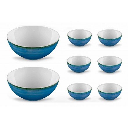 Service 6 Ice Cream Bowls and 2 Bowls in Colored Porcelain - Rurolo