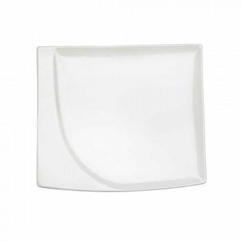 Aperitif Service 12 Pieces Modern White Porcelain Design Plates - Nalah