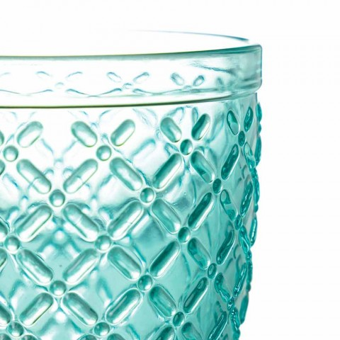 Colored and Decorated Water Glasses Service 12 Pieces of Glass - Lozenge