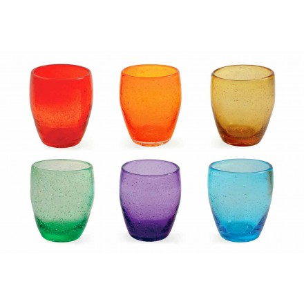 Water Glass Service in Colored and Modern Glass 6 Pieces - Guerrero