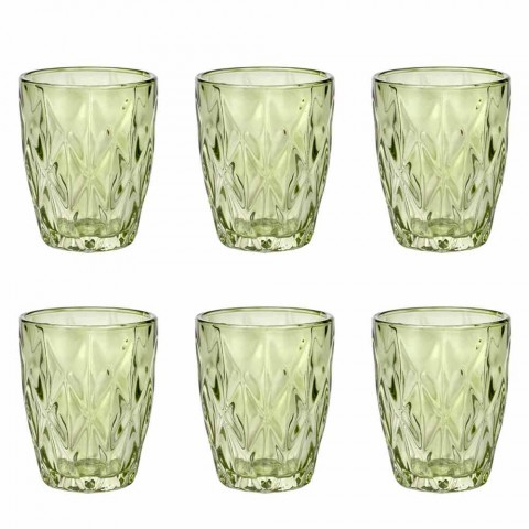 Colored Glass Water Glasses Set 6 Pieces Modern Design - Timon
