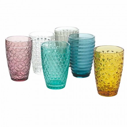 Modern Drinkware Set in Decorated Colored Glass 12 Pieces - Mix