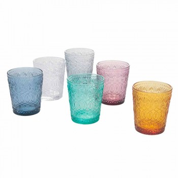 Colored and Decorated Glass Water Glasses Service, 12 Pieces - Pizzotto