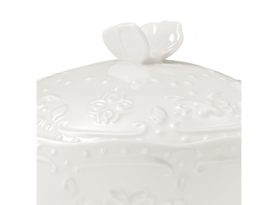 Buffet or Aperitif Service in Decorated White Porcelain 3 Pieces - Rafiki