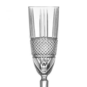 Champagne Flute Goblet Set in Eco Crystal Decor 12 Pcs - Lively