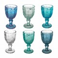 Colored Wine Goblet Set in Glass and Oriental Style Decoration 12 Pieces - Screw