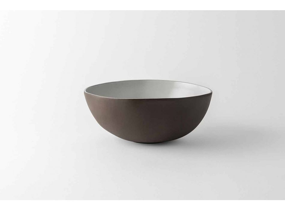 Bowls Service Bowls in Anthracite or Brown Stoneware Design 26 Pieces - Diletta