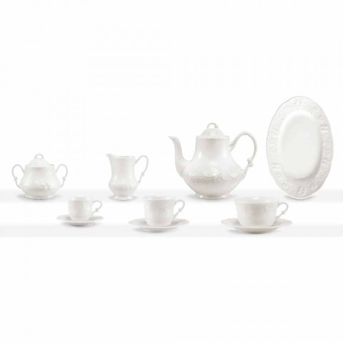 Complete Breakfast Service 22 Pieces in White Porcelain - Gimignano