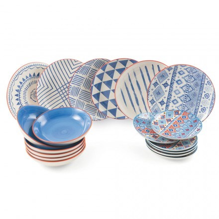 Complete Table Service Colored and Modern Dishes 18 Pieces of Design - Incas