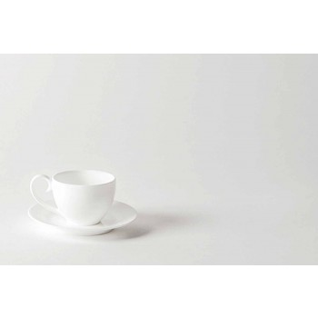 Complete Service of Coffee Cups 21 Pieces in White Porcelain - Samantha