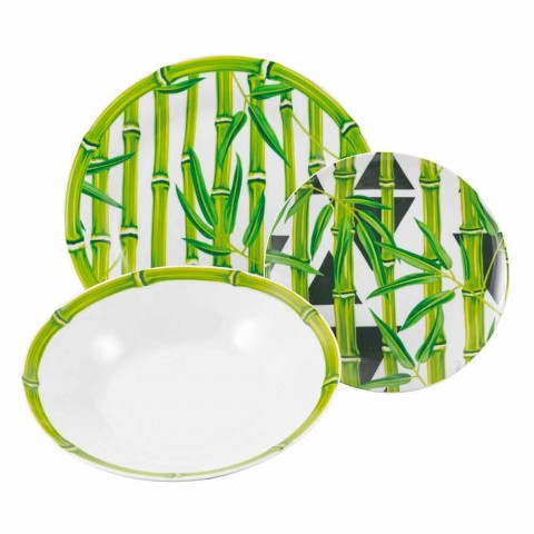 Complete Service Porcelain Dishes Modern Colored Bamboo 18 Pieces - Rods