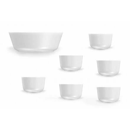 Modern Design White Porcelain Cups and Bowl Set 7 Pieces - Arctic