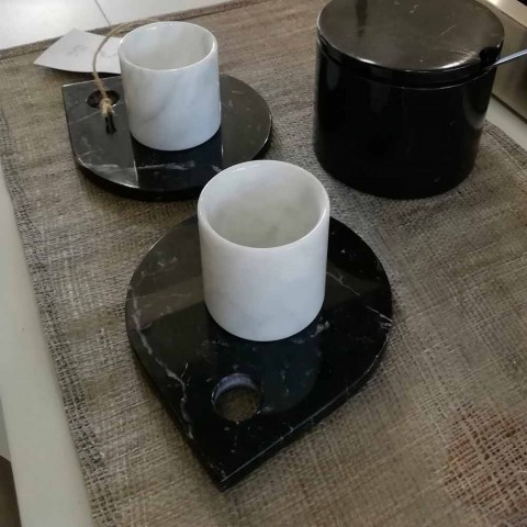 Coffee Service in Carrara Marble and Modern Marquinia Made in Italy - Garda