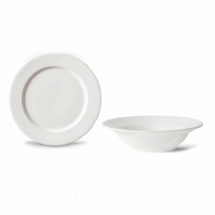 Dessert Service 6 Bowls and 6 Design Saucers in White Porcelain - Samantha