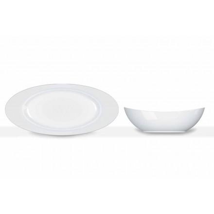 Modern White Porcelain Oval Design Serving Set 2 Pieces - Telescope