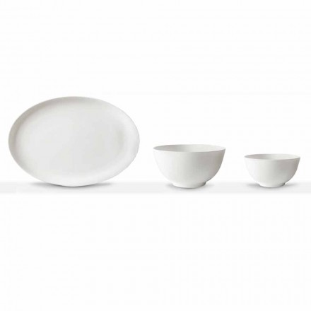 White Porcelain Serving Set Oval Plate and Bowl 10 Pieces - Romilda