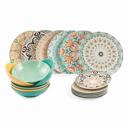 Table Service 18 Pieces Stoneware and Porcelain Modern Colored Plates - Egypt