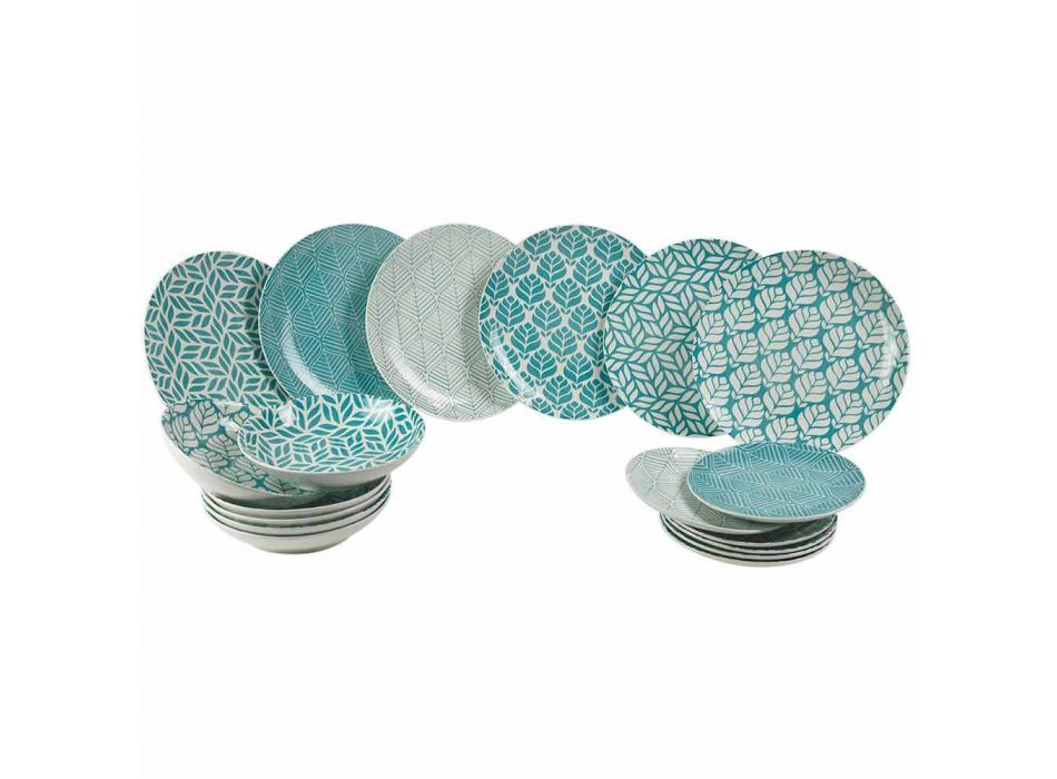 Complete Table Service in Colored Porcelain 18 Pieces - Indonesia
