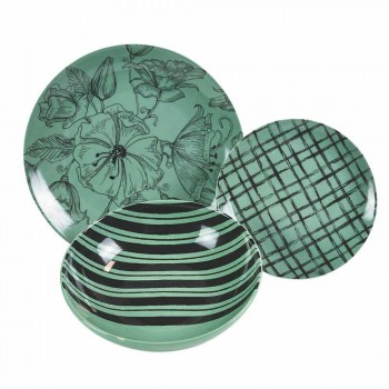 Complete Table Service Dishes in Colored Porcelain 18 Pieces - Ballet