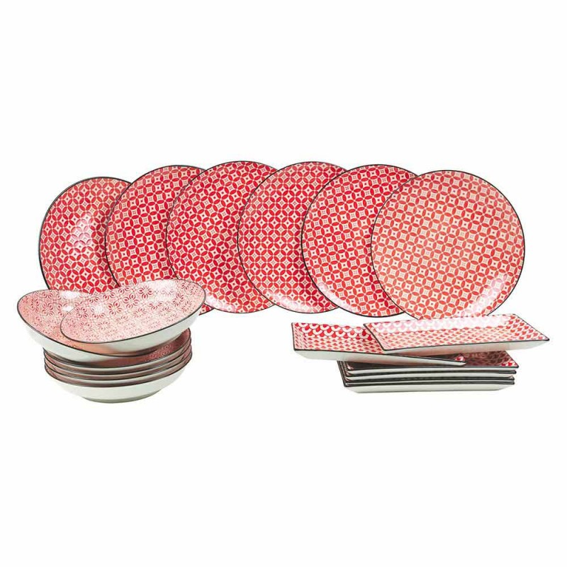 Complete Table Service Red Plates in Modern Stoneware 18 Pieces - Cochineal