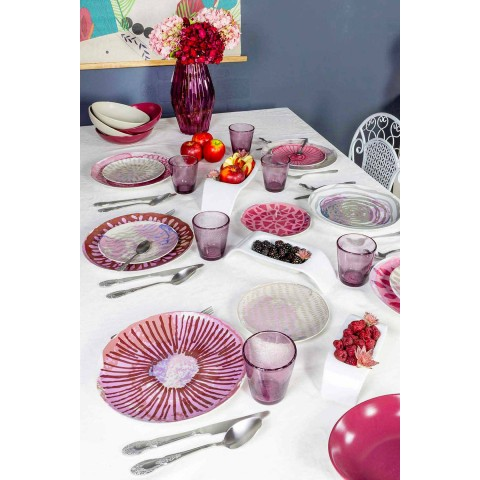 Colored Porcelain and Stoneware Table Service 18 Pieces - Cyclamen
