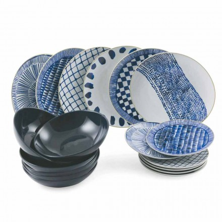 Table Service Blue Colored Plates in Porcelain and Stoneware 18 Pieces - Tribu