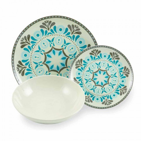 Blue Colored Porcelain Tableware Set 18 Pieces - Eivissa