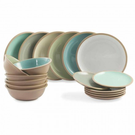 Dinnerware Set Colored Plates Full 18 Pieces Design - Osteria