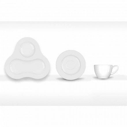 Complete Tea Set Modern Design in White Porcelain 14 Pieces - Telescope