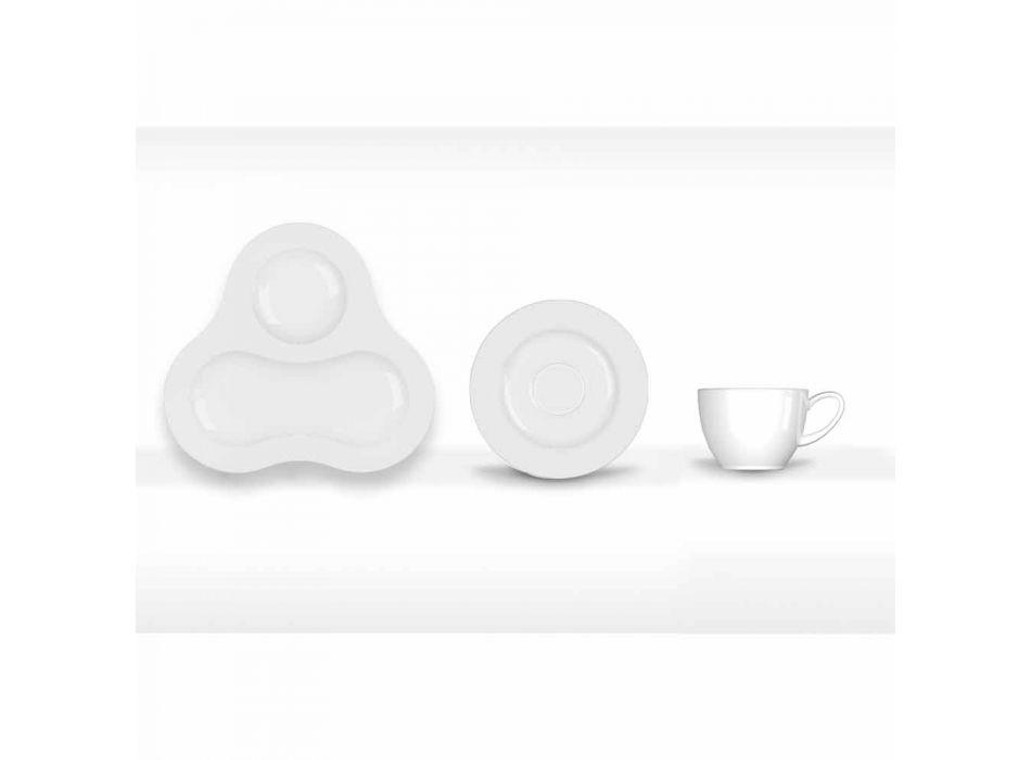 Complete Tea Set Modern Design in White Porcelain 14 Pieces - Telescope