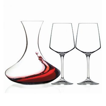 3 Piece Ecological Crystal Wine Decanter and Goblet Set - Etera