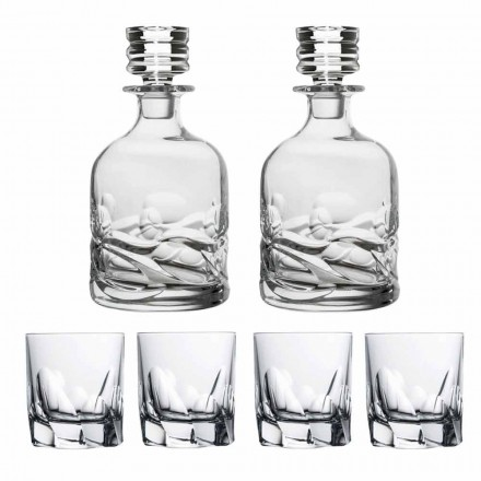 Whiskey Set 2 Bottles and 4 Glasses in Decorated Crystal, Luxury Line - Titanio