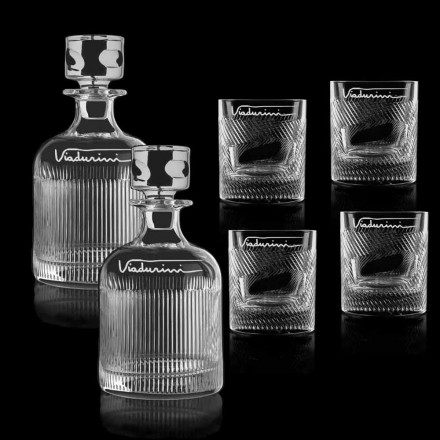 6 Eco Crystal Whiskey Service with Customizable Logo, Luxury Line - Tattile