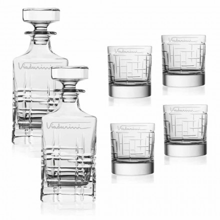 Crystal Whiskey Service, Customizable with Logo, 6 Pieces, Luxury Line - Aritmia