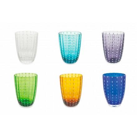 Set of 12 Modern Colored Glass Design Glasses for Water - Botswana