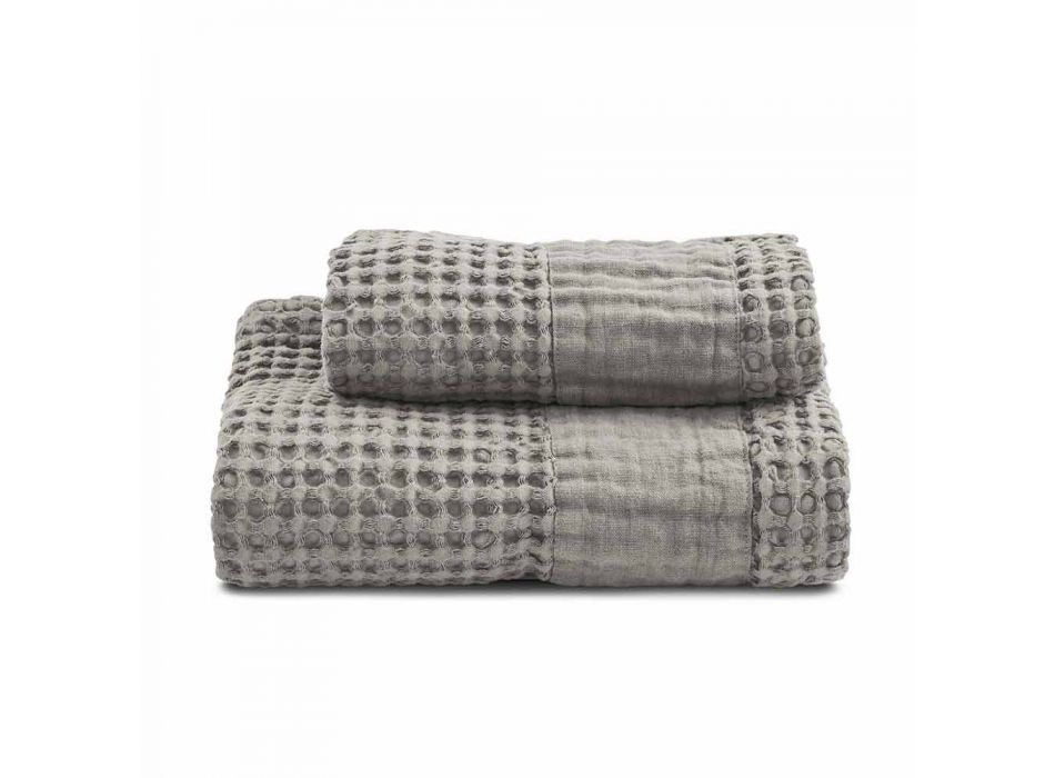 Bath Towels in Colored Honeycomb Cotton and Linen - Turis