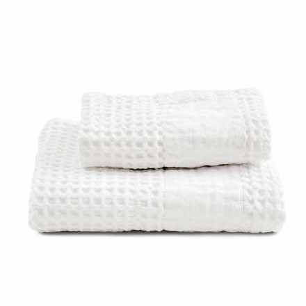 Bathroom Set of Towels in Cotton Honeycomb and Colored Linen - Turis