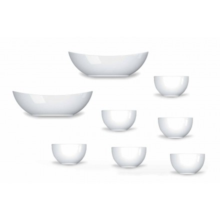 Cups and Bowls Service Modern Design in Porcelain 8 Pieces - Telescope