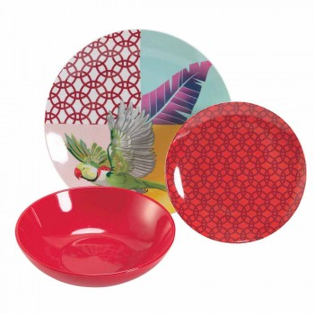 18 Piece Colored Design Porcelain and Gres Dinnerware Service - Tropycale