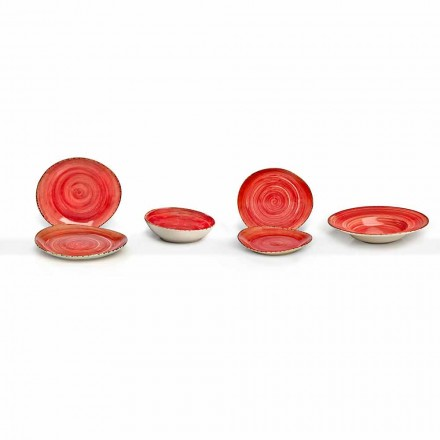 Set of 16 Modern Design Dishes in Elegant Colored Stoneware - Simba