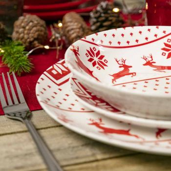 Christmas Dinner Set in Decorated Porcelain 18 Pieces - Melchior