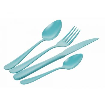 24 Pieces Opaque Stainless Steel Cutlery Set on Blue - Oceanus