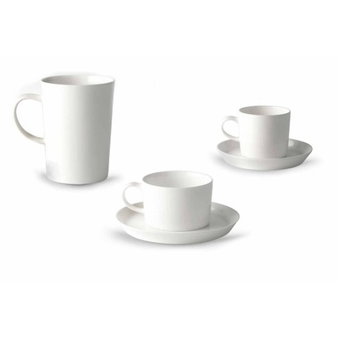 Coffee, Tea and Breakfast Cup Service 30 Pieces in White Porcelain - Egle