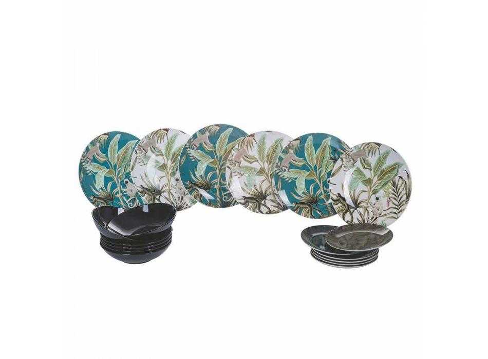 18 Piece Modern Tableware Colored Porcelain and Stoneware Service - Antananarivo