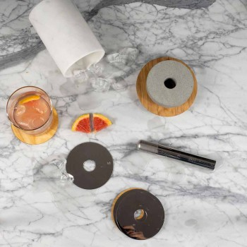 Cocktail Service Aperitif Accessories in Marble, Wood, Steel - Norman